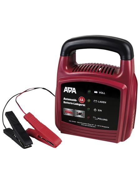 APA Batterieladegerät, 17,5 x 17 x 9 cm, 12 V, 4 A, Rot | Schwarz