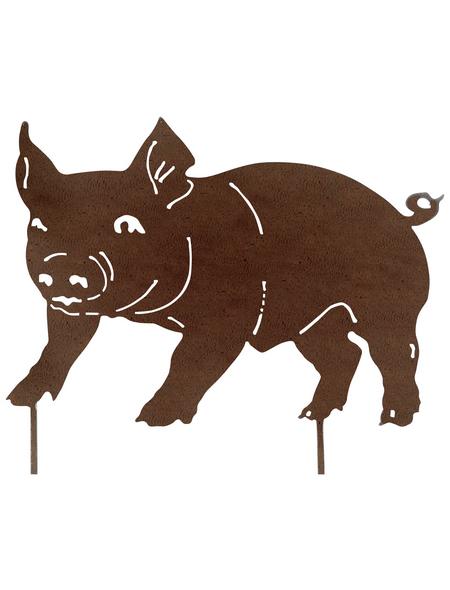 Beetstecker, Schweinchen, rostfarben, Metall