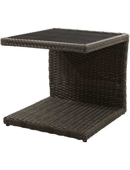 ploß® Beistelltisch »Jardel«, Kunststoffgeflecht, graubraun/dunkelbraun, BxHxT: 50 x 50 x 45 cm