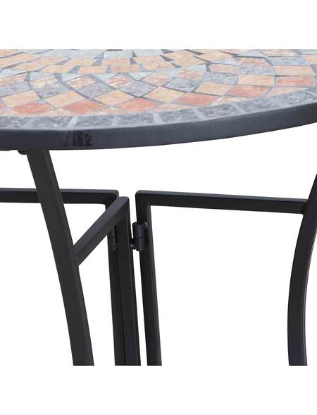 SIENA GARDEN Beistelltisch »Prato«, Stahl, schwarz/bunt, BxHxT: 70 x 71,5 x 35,5 cm