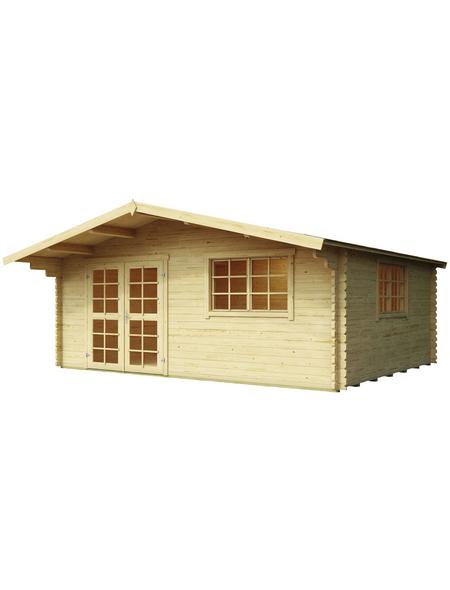 MR. GARDENER Blockbohlenhaus »England 3«, BxT: 525 x 484 cm (Aufstellmaße), Satteldach