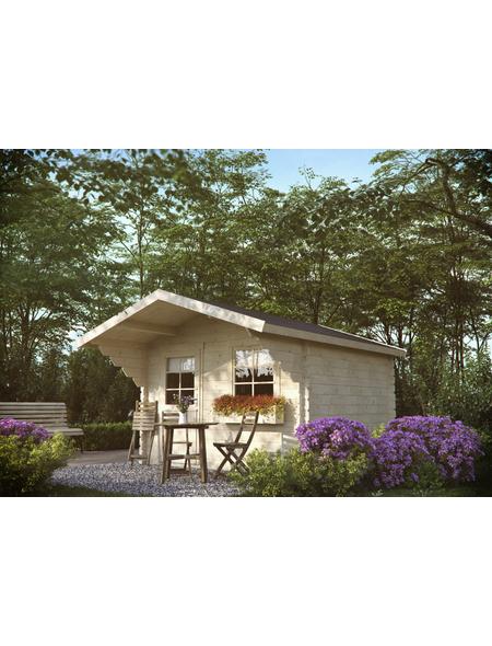 Kiehn-Holz Blockbohlenhaus »KH 44-015«, BxT: 355 x 499 cm (Aufstellmaße), Satteldach