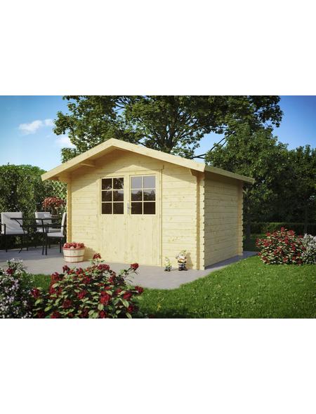 Kiehn-Holz Blockbohlenhaus »KH«, BxT: 350 x 324 cm (Aufstellmaße), Satteldach