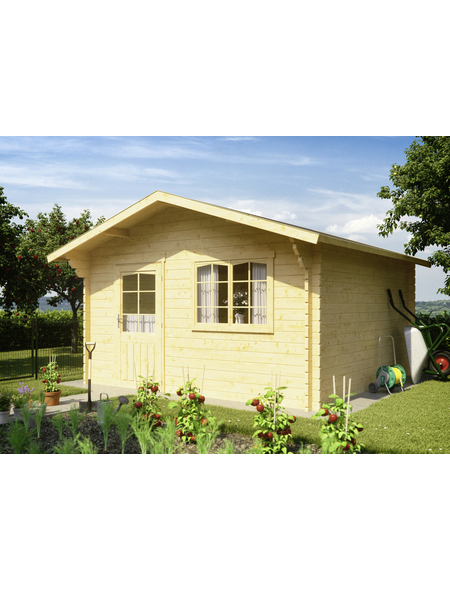 Kiehn-Holz Blockbohlenhaus »KH«, BxT: 440 x 460 cm (Aufstellmaße), Satteldach