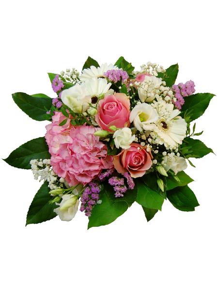 Blumenstrauß »Hortensie, Rosen, Germini, Lysianthus«, Ø 26–30 cm