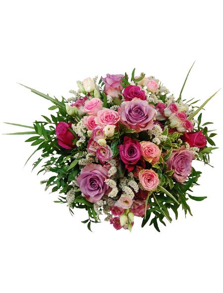 blumenstrauß mit rosen lysianthus strandflieder in rosa