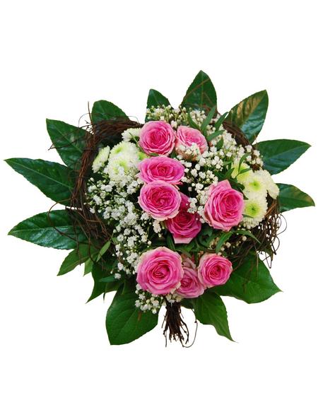 Blumenstrauß »Polyantha Rosen, Chrysanthemen, Schleierkraut«, Ø 28–32 cm