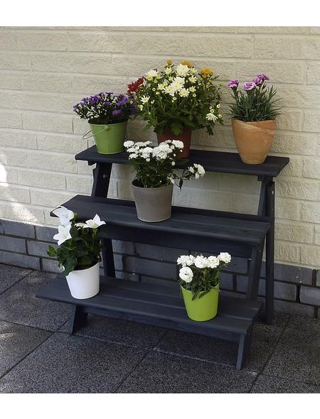 PROMADINO Blumentreppe, BxH: 78 x 62 cm, Kiefernholz, anthrazit