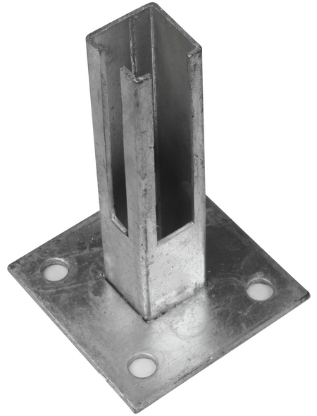 FLORAWORLD Bodenplatte, HxBxT: 40 x 10 x 10 cm, silberfarben, für Zaunpfosten 10 x 10 mm