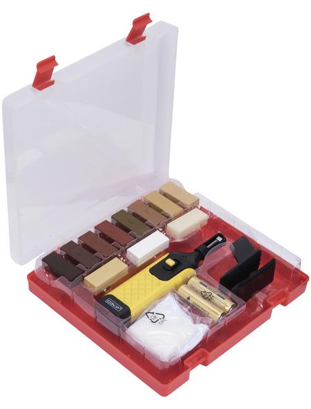 CONNEX Bodenreparaturset, inkl. Wachsschmelzer, Reinigungsspachtel, Schleifschwamm, geeignet für Laminat
