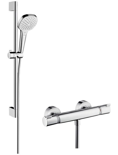 HANSGROHE Brause-Set »Croma Select E«, Höhe: 66,9 cm, chromfarben/weiss