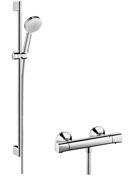 HANSGROHE Brause-Set »Crometta 100«, Höhe: 99,1 cm, chromfarben/weiß