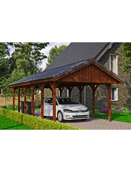 SKANHOLZ Carport, B x T x H: 430 x 900 x 326 cm, nussbaum
