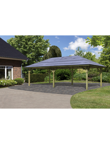 KARIBU Carport »Pavillon Carport«, Außenmaß BxT: 517,5 x 264,5 cm, natur