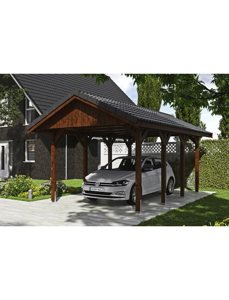 SKANHOLZ Carport »Wallgau«, BxHxT: 380 x 313 x 600 cm, nussbaum