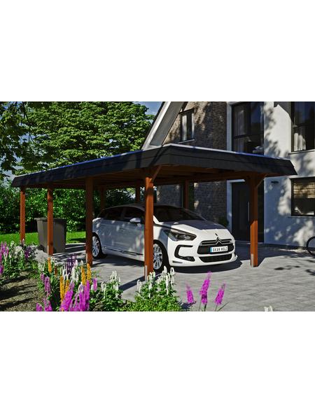 SKANHOLZ Carport »Wendland«, Außenmaß BxT: 315 x 738 cm, nussbaum