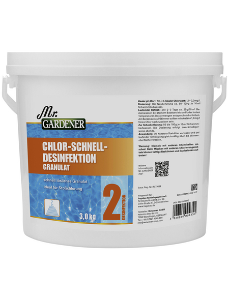 MR. GARDENER Chlor-Schnelldesinfektion, 3 kg Chlor-Schnelldesinfektion , für Pools