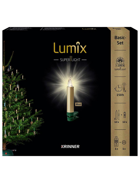 Krinner Christbaumkerzen Lumix Superight mini, gold, 12er