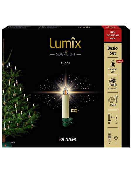 Krinner Christbaumkerzen Lumix Superlight Flame mini, Elfenbein, 12er