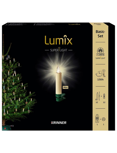 Krinner Christbaumkerzen Lumix Superlight mini, Elfenbein, 12er