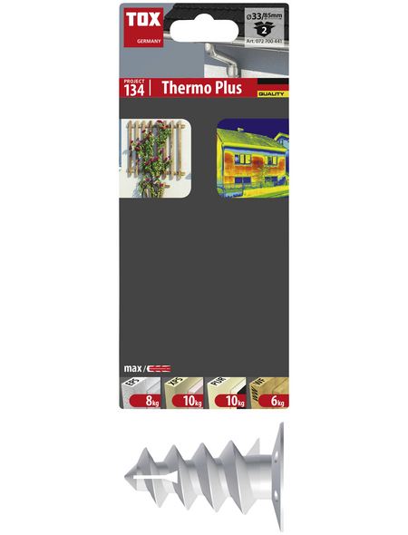 TOX Dämmstoffdübel, Polyethylen, 2 Stück, 14 x 85 mm