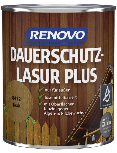 RENOVO Dauerschutzlasur, für außen, 0,75 l, braun, seidenglänzend