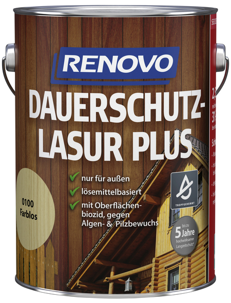 RENOVO Dauerschutzlasur, für außen, 2,5 l, farblos, seidenglänzend