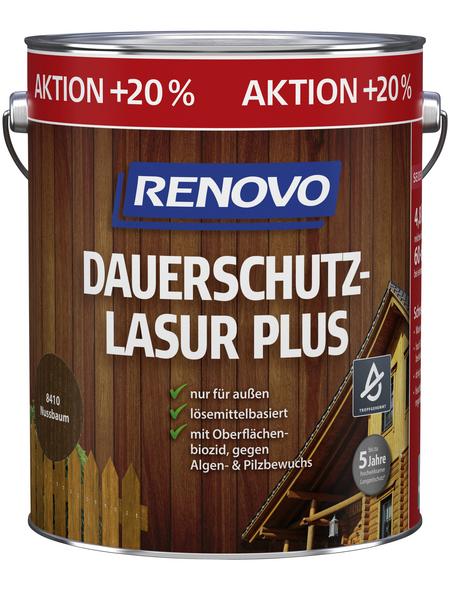 RENOVO Dauerschutzlasur »Plus« für außen, 4,8 l, Nussbaum, seidenglänzend