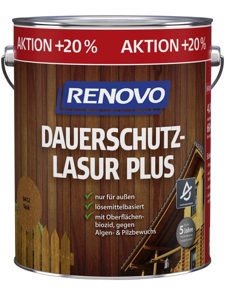 RENOVO Dauerschutzlasur »Plus« für außen, 4,8 l, Teak, seidenglänzend