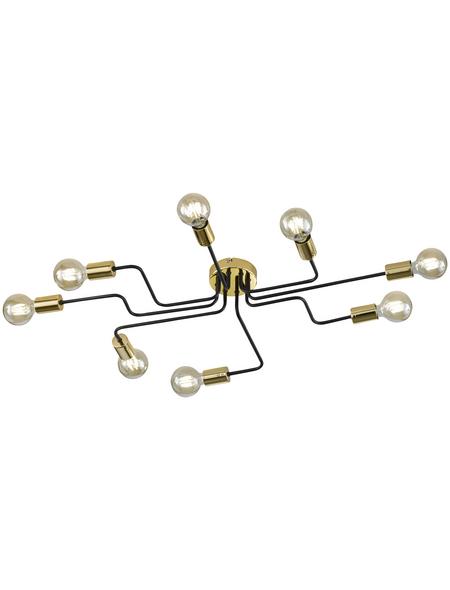Deckenleuchte goldfarben/schwarz 60 W, 8-flammig, E27, ohne Leuchtmittel