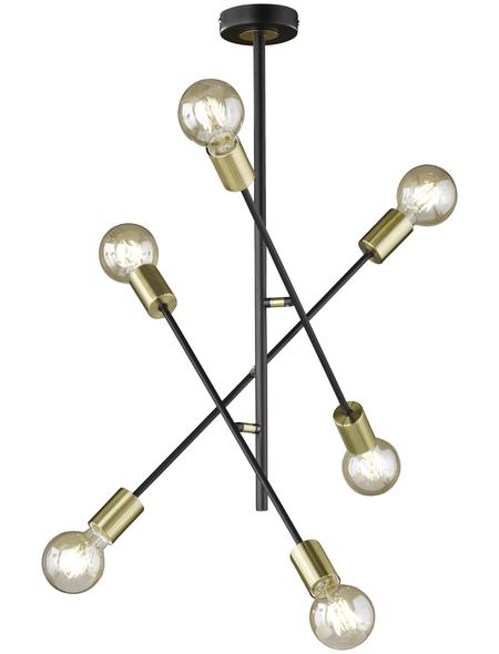 Deckenleuchte schwarz/goldfarben 60 W, 6-flammig, E27, ohne Leuchtmittel