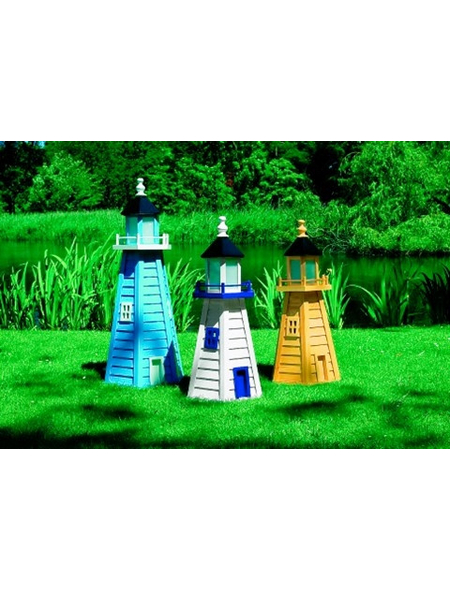 PROMADINO Deko-Leuchtturm, BxH: 45 x 95 cm, blau, Holz