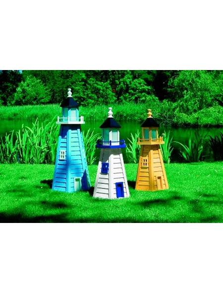 PROMADINO Deko-Leuchtturm, BxH: 45 x 95 cm, Kiefernholz, blau/weiß