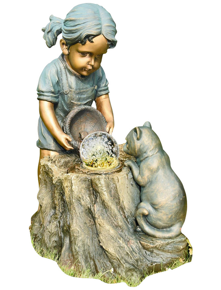 GRANIMEX Dekobrunnen, Höhe: 64 cm, bronzefarben/hellblau, inkl. Pumpe