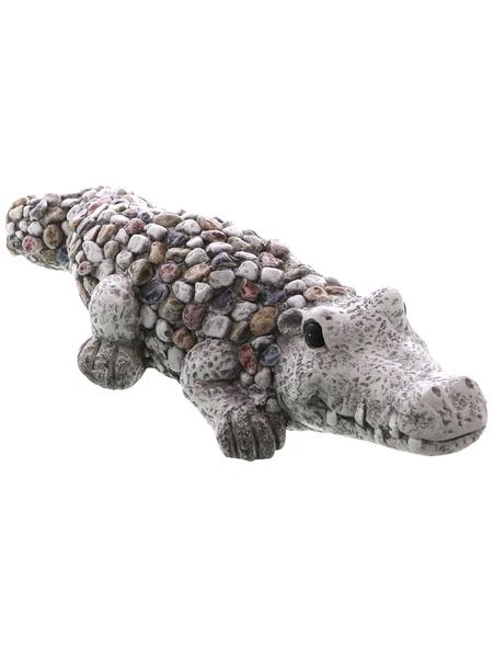 Dekofigur »Kiesel Figuren«, Krokodil, Keramik, grau