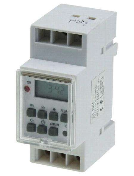Digitale Zeitschaltuhr, 230 V, 10 A, Wechsler REG, Schließer, Glühlampenleistung 3500 W, Weiß