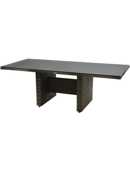 ploß® Diningtisch »Sydney«, mit Sicherheitsglas-Tischplatte, BxTxH: 220 x 100 x 75 cm