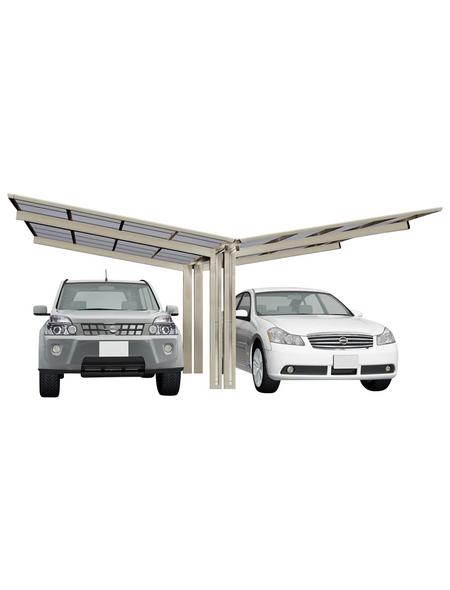 XIMAX Doppelcarport »Linea«, Außenmaß BxT: 547,6 x 495,4 cm, edelstahlfarben