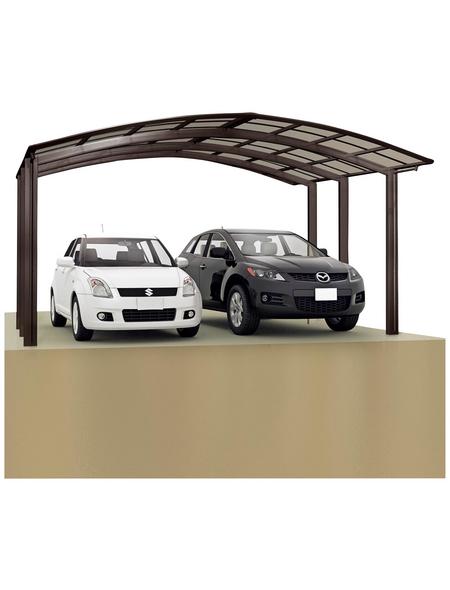 XIMAX Doppelcarport »Portoforte«, B x T x H: 542,3 x 495,4 x 298,1 cm, braun
