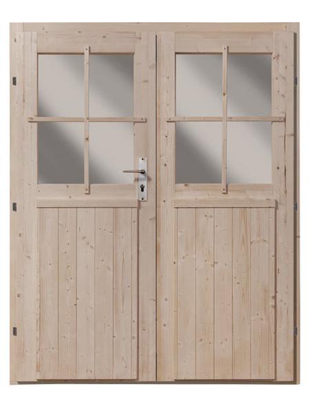 KARIBU Doppelflügeltür für Gartenhäuser, BxH: 141 x 177 cm, Holz