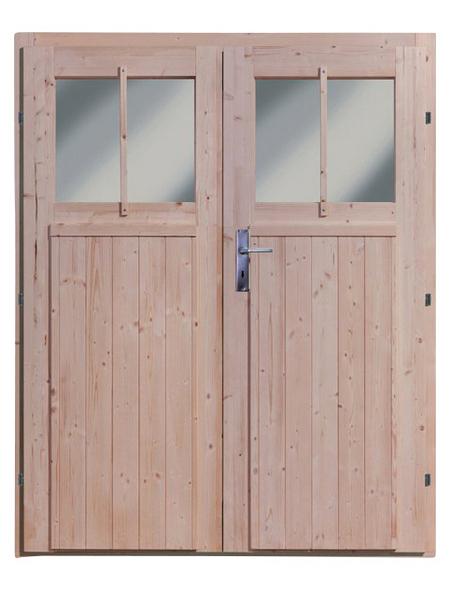 KARIBU Doppelflügeltür für Gartenhäuser, BxHxt: 82 x 180,5 x 3,6 cm, Nordisches Fichtenholz