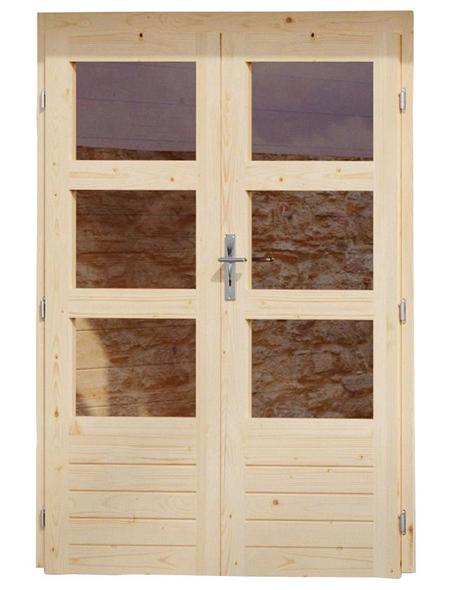 KARIBU Doppelflügeltür für Gartenhäuser, Holz