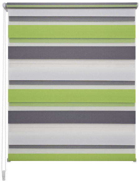 LIEDECO Doppelrollo »Mini Tricolor«, grau/weiß/grün, Polyester