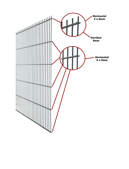 FLORAWORLD Doppelstabmatte, HxL: 63 x 251 cm, anthrazit