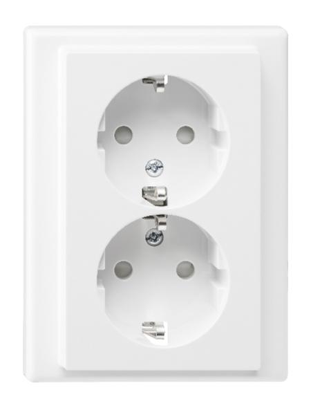 merten Doppelsteckdose »System M«, polarweiß, Kunststoff/Metall, 250V