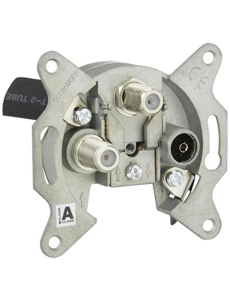 SCHWAIGER Dreiloch-Einzeldose SAT, Silber, Aluminium, Antennen-, Kabel- und Satellitensignal