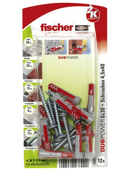 FISCHER Dübel, DUOPOWER, 12 Stück, 6 x 30 mm