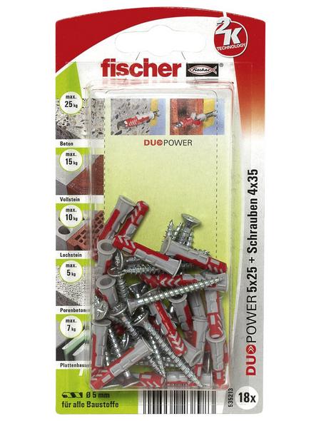 FISCHER Dübel, DUOPOWER, 18 Stück, 5 x 25 mm