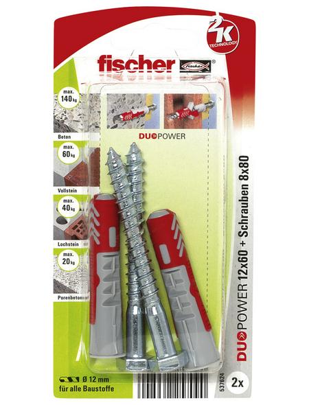 FISCHER Dübel, DUOPOWER, 2 Stück, 12 x 60 mm