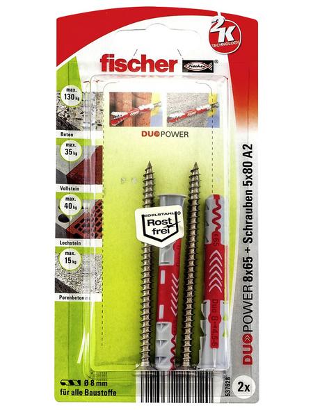 FISCHER Dübel, DUOPOWER, 2 Stück, 8 x 65 mm